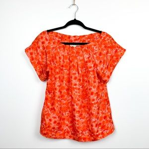 Short Sleeve Orange Patterned Banana Republic Top